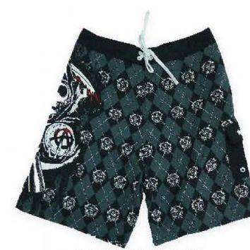 Sons of Anarchy Reaper Argyle Gray Mens Boardshorts - Sons of Anarchy - | TV Store Online