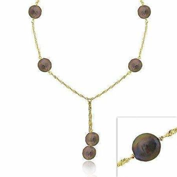 18K Gold over Sterling Silver Freshwater Cultured Peacock Coin Pearl Lariat Necklace