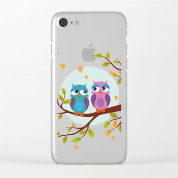 Sleepy owls in love Clear iPhone Case by eDrawings38