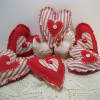 Valentines Day Fabric Hearts, Handmade, Home Decor, Bowl Fillers, Ornament, Country Decor, Cottage Decor, Country, Red, White, Ticking, Love