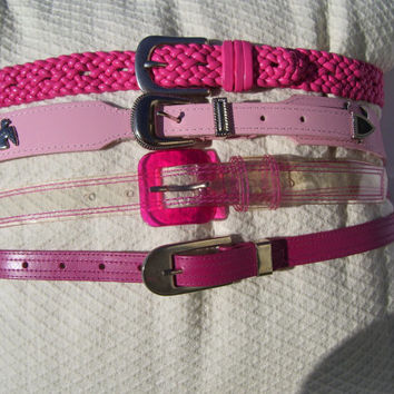 Pink Belt  Select From Woven Shocking Hot Pink //  Pretty Pink Western Conchos // Clear With Hot Pink Stitching // Narrow Fuchsia Belt