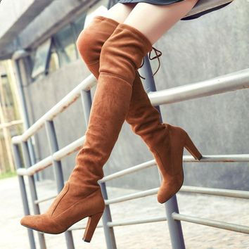 women boots Faux Suede Slim Boots leather Sexy over the knee Autumn winter women shoes thigh high boots shoes woman Fashion