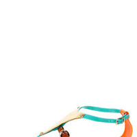 Jelly 1 Green and Gold Plate Thong Sandals