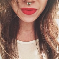 Opal Septum Ring // 3-stone ring // Made to Order // Sterling Silver // White Fire Opal