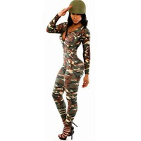 Sexy Jumpsuit Camouflage Women Rompers The Army Soldier Catsuit Long Sleeve Bodycon Playsuit Overall For Women