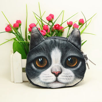 Big Face Kitty Cat Coin Purse