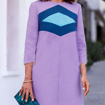Purple Contrast Geometric Print Shift Dress