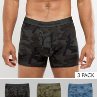 Abercrombie & Fitch 3 Pack Trunks All Over Camo Print in Black/Green/Blue at asos.com