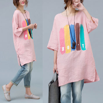 Women Dress Big Size Striped Print Cotton and Linen T-Shirt Summer Fashion Casual Female Tops Long Show Thin Pink Kawaii Dresses