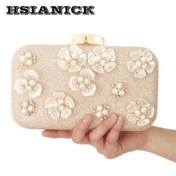 Pearl Direct Selling Flower Female Bag 2017 New Oblique Cross Handbag Holding Bridal Clutch Dinner Sequins Party Prom Evening