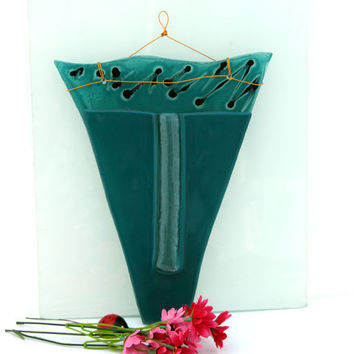 summer sell - Fused glass Turquoise Wall vase,