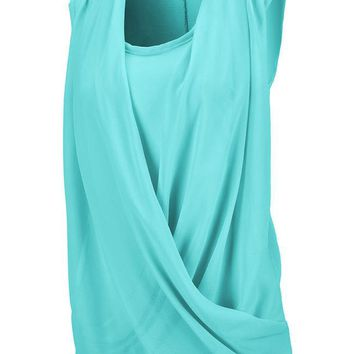 Casual Solid Ruched Chffion Sleeveless T-Shirt