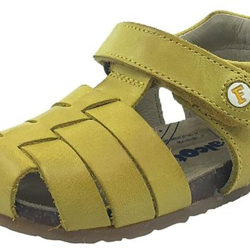 Naturino Falcotto Boy's & Girl's Yellow Smooth Leather Fisherman Sandals with Hook and Loop Strap