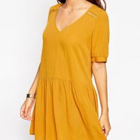 ASOS PETITE Smock Dress with Lace Insert Detail