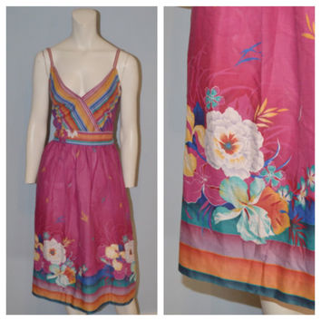 1960's Vintage Sundress/Dress - Purple with Hibiscus Flowers and Stripes - Tropical, Beachy, Hawaiian