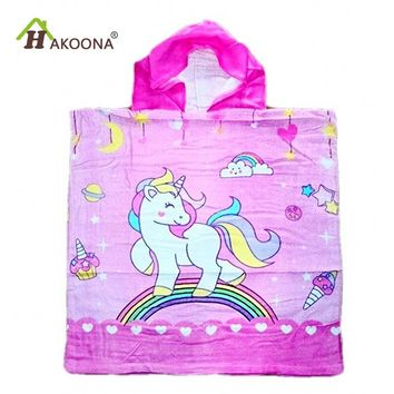 HAKOONA Baby Children Hooded Towels  Cotton Fabric Absorbent Soft Bathrobe Beach Pool Swimming Poncho Cartoon  Unicorn Wearable