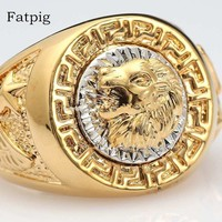 Fatpig Jewelry Fashion Rings for Men 2018 Cool Lion Eagle Star Gold-color Ring Jewelry Size 8-12 Men Rings for Wedding