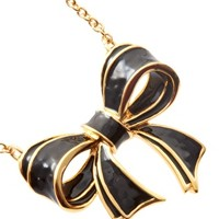 Ted Baker Maia Black And Gold Enamelled Bow Necklace at asos.com