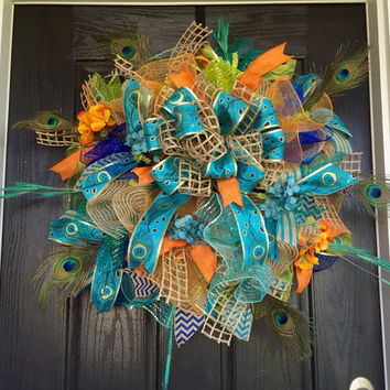 Elegant peacock wreath, Peacock deco mesh wreath, peacock mesh wreath,peacock wreath, front door wreath, everyday wreath