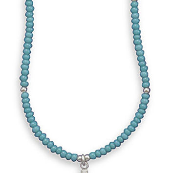 ON SALE THROUGH AUGUST! Turquoise Glass Bead Necklace with Cross Charm