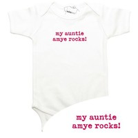 My Aunt or Uncle Rocks Onesuit with Choice of Pink, Blue, Green or Orange Writing