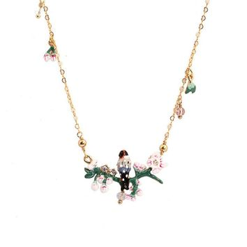 Warmhome Lovely Jewelry Enamel Glaze Copper Fashion Oriole Bird Cherry Blossoms Flower For Women Necklaces