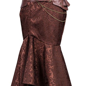 Atomic Brown Jacquard Fishtail Skirt with Pouch