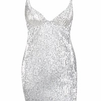 Drawn To You Silver Sequin Sleeveless Spaghetti Strap V Neck Bodycon Mini Dress