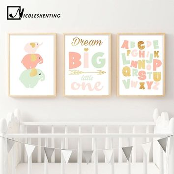 Cute Elephant Nursery Quote Wall Art Canvas Poster ABC Alphabet Print Nordic Style Painting Picture Kid Baby Bedroom Decoration