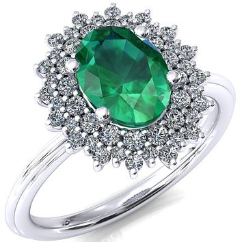 Eridanus Oval Emerald 4 Prong Diamond Cluster Halo Engagement Ring