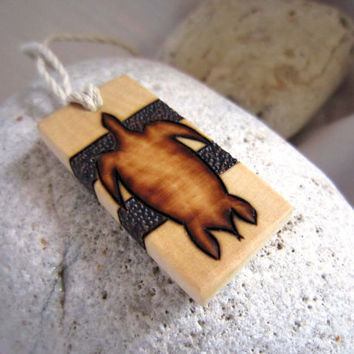 Sea Turtle Necklace - Wood Pendant - Pyrography Necklace