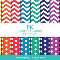 Digital Paper, Chevron, Polka Dots, Rainbow, Colorful,Scrapbook Paper, Backgrounds, Pattern Prints, 16 digital paper pack - INSTANT DOWNLOAD