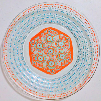 Mandala Plate, Wedding Dinnerware, Designer Plate, Hand Painted Plates, Glassware, Decorative Plates, Blue, Orange, Glitter, Dinner Set
