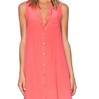 Chiffon Sleeveless Button Down Mini Dress