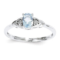14k White Gold Genuine Aquamarine Diamond Ring