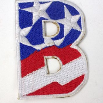 B Alphabet Letters of US Flag Iron on Small Patch for Biker Vest.