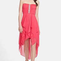 Way-In Embellished Chiffon High/Low Dress (Juniors)