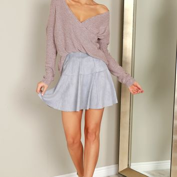 Heather Knit Wrap Sweater Mauve