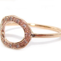Jewelry by Atlantis - 14k Rose Gold Pave Link Ring