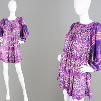 Vintage 70s Indian Cotton Gauze Dress Indian Dress Balloon Sleeve Block Print Boho Mini Dress Pink & Purple Sheer Cotton Ethnic Hippie Dress