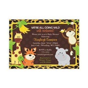 Leopard Jungle Friends Baby Shower Invitations from Zazzle.com