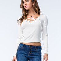 FULL TILT Womens Ribbed Lace Up Top | Cabin Romance