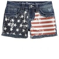 Heavy Stitch Flag Printed Denim Shorts | Girls Shorts Bottoms | Shop Justice