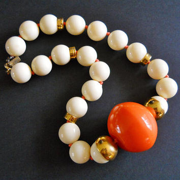 Orange Large Beaded Cream Color Necklace, DONALD STANNARD, Acrylic Vintage Signed