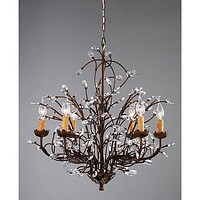 Antique Bronze 6-light Crystal & Iron Chandelier