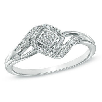 1/10 CT. T.W. Diamond Square Cluster Ring in Sterling Silver - Size 7 - View All Rings - Zales