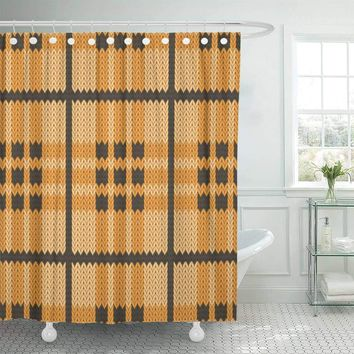Scottish Plaid Pattern Shower Curtains Hooks Included