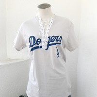DODGERS LACE UP TEE- BEIGE