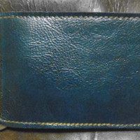 blue leather money clip and  card credit card holder by G2Pleather