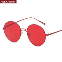 Peekaboo brand vintage retro round sunglasses tinted lens men women super light sunglasses yellow pink red UV400 lentes de sol